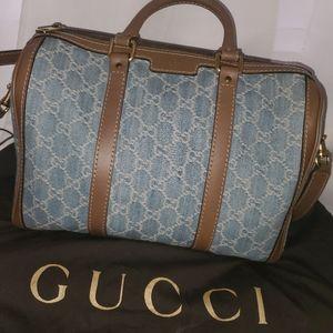 Gucci denim boston bag